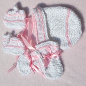 vintage style baby bonnet set knitted in angora
