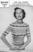 vintage ladies fair isle all over pattern for jumper  knitting pattern 1940s