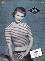 vintage ladies stripe jumper knitting patterns 1950s