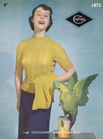 vintage ladies lace jumper and plain cardigna knitting pattern 1950s