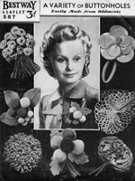 vintage button holes and flower brooches pattern 1930s