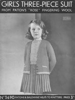 vintage girls suit knitting pattern from 1930s knitting pattern