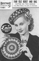 vintage ladies bag and beret knitting pattern 1940s in fair isle knitting pattern wartime