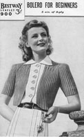 vintage knitting pattern ladies simple bolero 1940s