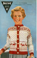 vintage girls christmas fair isle cardigan 1940s