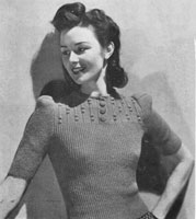 vintage ladies knitting pattern for  jumoper from 1944
