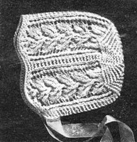 vintage baby bonnet knitting patterns 1930s