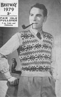 vintage mens tank top  1940s pattern fair isle