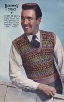 vintage knitting pattern for mens fair isle tank top 1940s