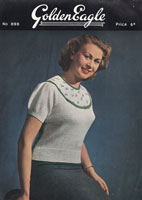 vintage ladies fair isle yoke jumper knitting pattern from 1940s from golden eagle 898