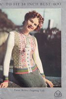 vintage ladies cardigan knitting pattern from 1940s patons 600