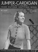 vintage ladies jumper cardigan knitting pattern from 1930s patons 2225