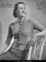 vintage ladies cardigan knitting pattern from 1930s 2372