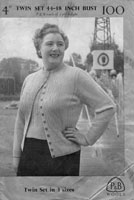ladies fuller figure twinset large sizes 1940s