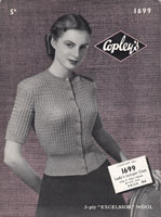 copley 1940s jumper coat or cardigan knitting pattern copley 1699
