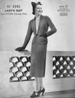 vintage ladies suit knitting pattern from 1930s patons 3392