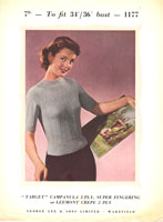 vintage ladies jumper knitting pattern from 1950s