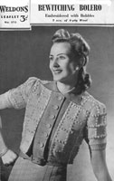 vintage ladies weldons 272 bolero knitting pattern 1940s
