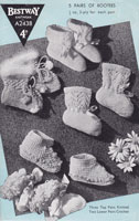 vintage baby bootees knitting pattern 1940s