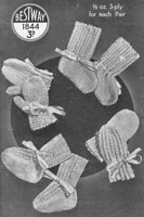 vintage baby bootees mittens knitting pattern 1930s