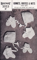 vintage bootees and bonnets knitting pattern 1940s