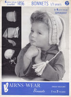 vintage baby bonnets kniting pattern 1940s