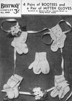 vintage baby bootees knitting pattern babies bootees mittend 1940s