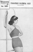 vintage knitting pattern for swim suit 1940s
