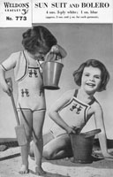 vintage knitting pattern childs sun suit swim suit beach wear 1940s