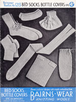 bedsocks and hotwater bottle cover from 1930s