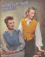 vintage 1940s waist coat knitting pattern for ladies