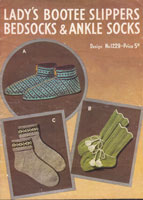 vintage bed sock, slippers and ankle sock knitting pattern from 1940s