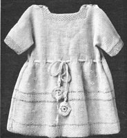 vintage baby dress knitting pattern trimmed with silk from 1920s