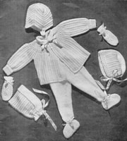 vintage knitting pattern for baby pram set from 1940s