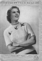vintage knitting pattern for ladies blue birds 1940