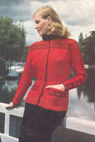 vintage ladies jacket knitting pattern with fair isle trim from 1940s