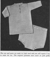 vintage baby vest and knickers knitting pattern 1940s