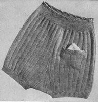 vintage girls knicker with pocket knitting pattern 1940s