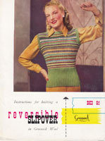 vintage ladies slipover knitting pattern from 1940s