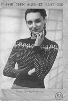 vintage ladies fair isle jumper knitting pattern from 1940s patons 238