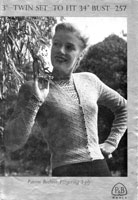 vintage ladies fair isle knitting pattern for a jumper from 1940s patons 257 cardigan to match twin set in fair isle