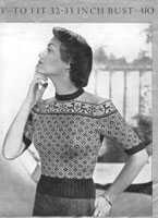 vintage ladies fair isle knitting pattern for jumper  from 1940s patons 410