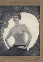 patons vintage ladies lacy jumper with fair yoke 1940s