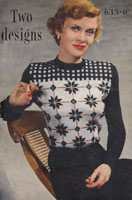 vintage ladies fair isle knitting pattern and stripe jumper pattern from 1940s