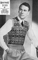 vintage 1940s mens fair isle knitting pattern for slip over tank top
