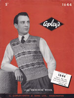 vintage mens slip over or tank top 1940s knitting pattern Copleys 1644