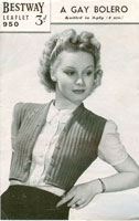 vintage knitting pattern for ladies bolero
