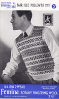 vintage mens fair isle knitting pattern tank top slip over 1930s