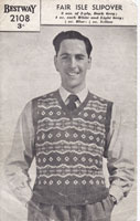 vintage mens knitting pattern for fair isle tank top slip over 1940s