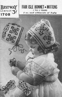 vintage knitting pattern for childs fair isle bonnet and mittens 1930s